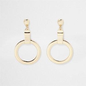 Gold tone circle drop earrings