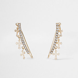 Gold tone cross rhinestone cuff earrings