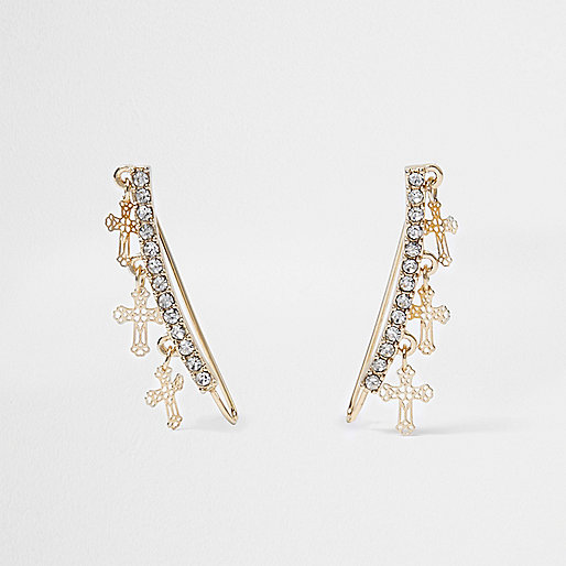 Gold tone cross diamante cuff earrings