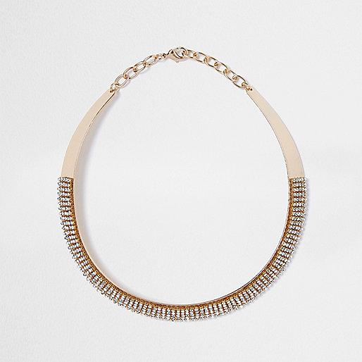 Gold tone pave diamante necklace