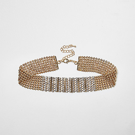 Gold tone diamante encrusted choker necklace