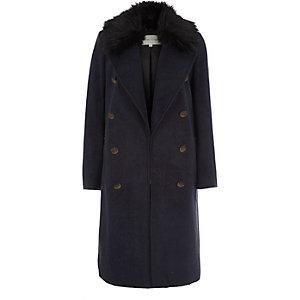 Navy blue faux fur trim military coat