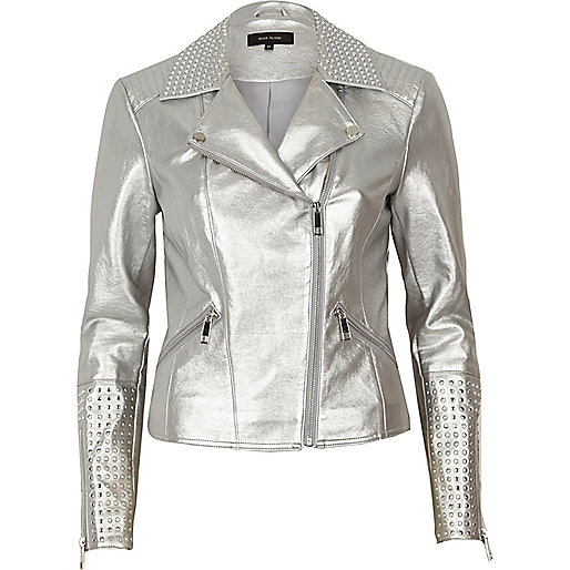 Silver faux leather studded biker jacket
