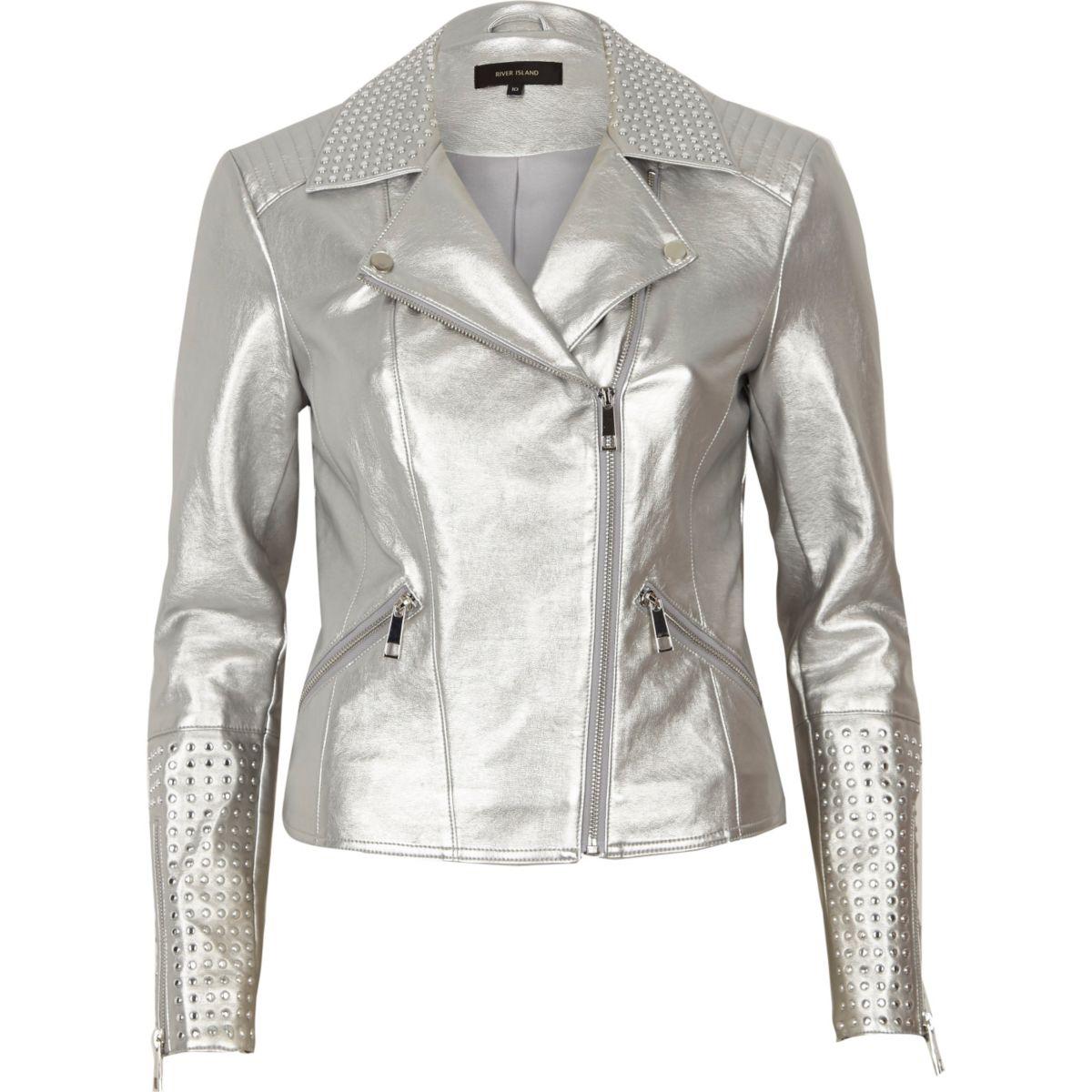 Silver faux leather studded biker jacket