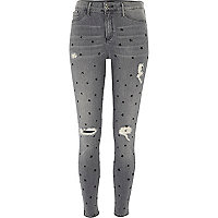 Grey star print distressed Molly jegging