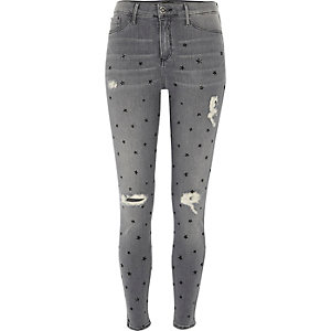 Molly – Graue Jeggings mit Sternenmuster
