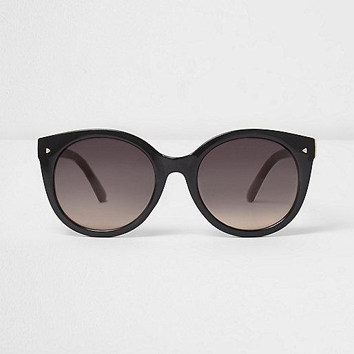 Zwarte cat eye-zonnebril met rookglas