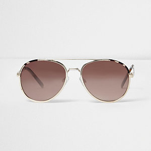 Gold brown lens aviator sunglasses