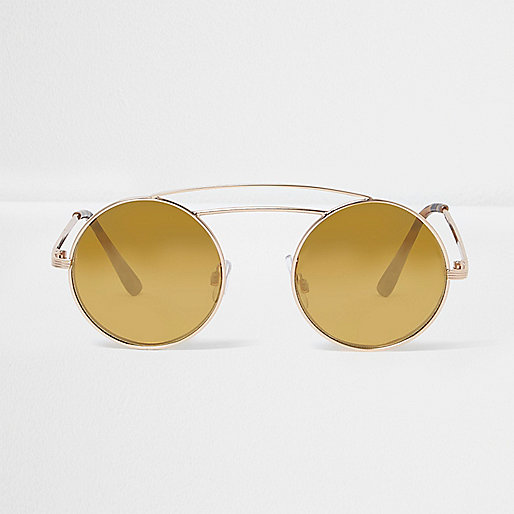 Gold double brow bar round sunglasses