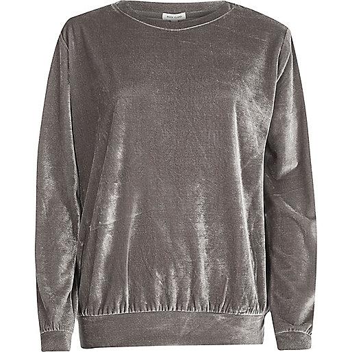 Velours-Sweatshirt in Grau-Metallic