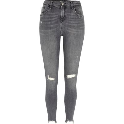 Amelie Grijze ripped superskinny jeans