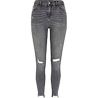 Amelie – Graue, superenge Skinny Jeans im Used-Look