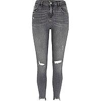 Amelie - Grijze ripped superskinny jeans