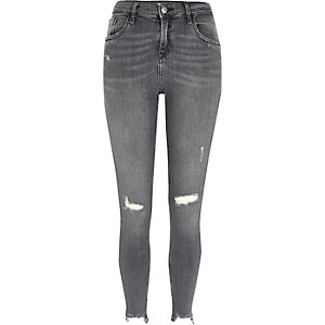 Amelie grijze ripped superskinny jeans