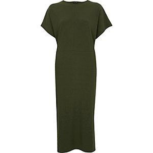 Khaki green batwing sleeve midi dress