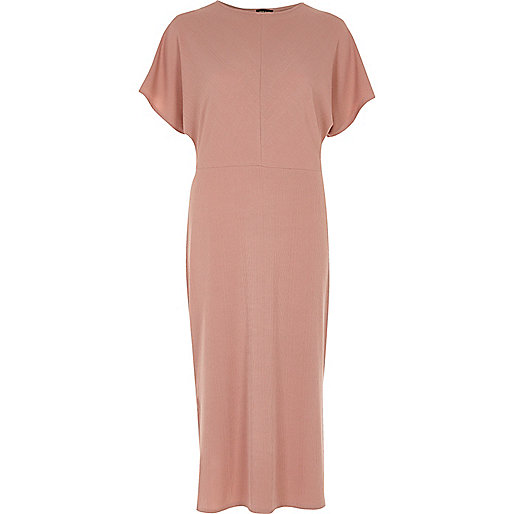 Dark pink batwing sleeve midi dress