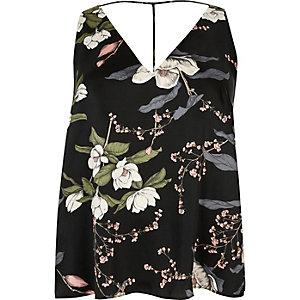 Plus black floral print T-bar cami top