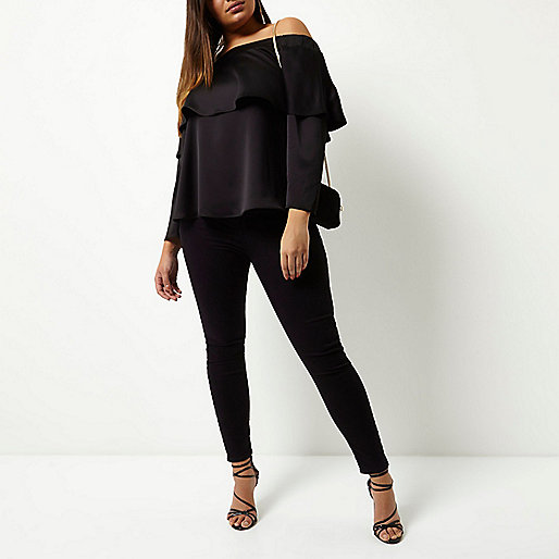 Plus black deep frill bardot top