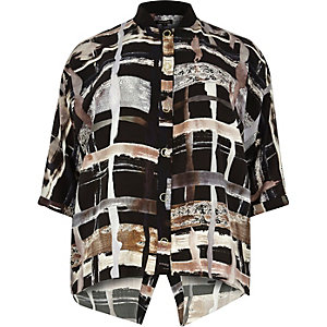 Plus brown print shirt