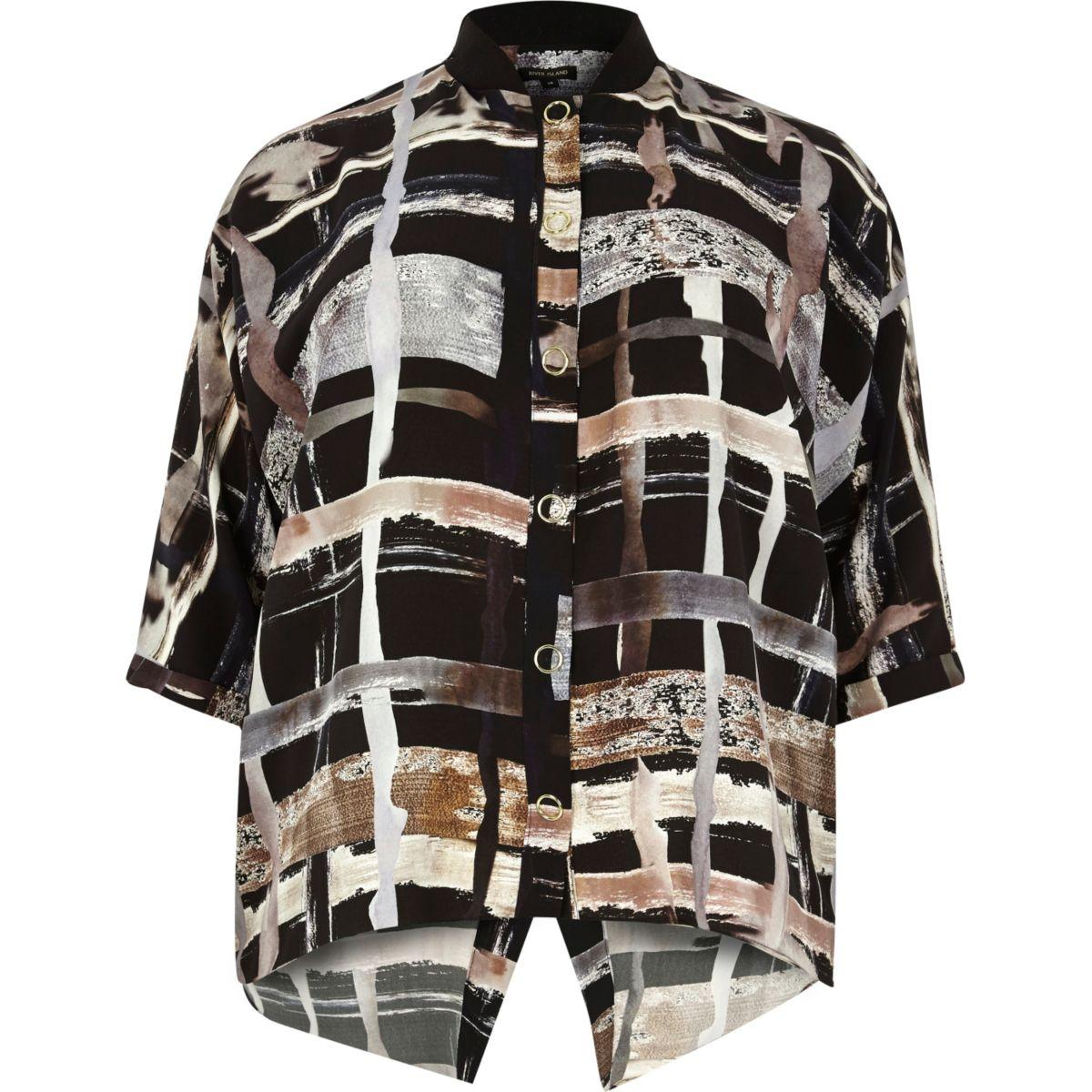 Plus brown print shirt