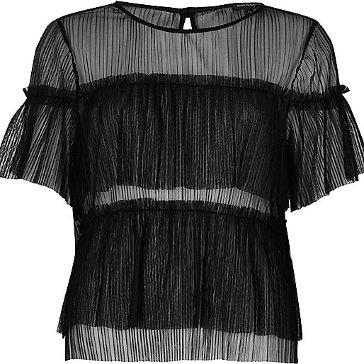 Black mesh frill top
