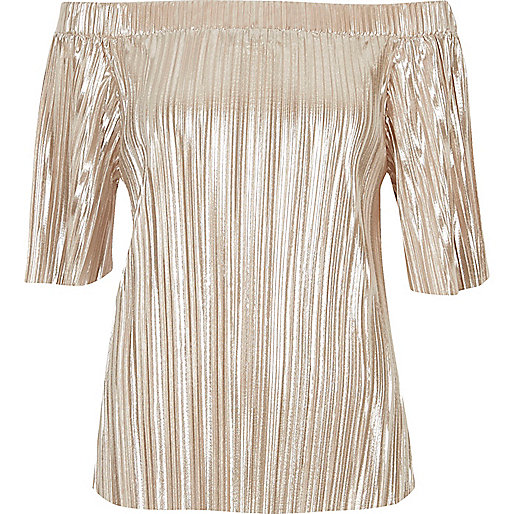 Gold pleated bardot top