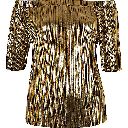 Gold pleated bardot top