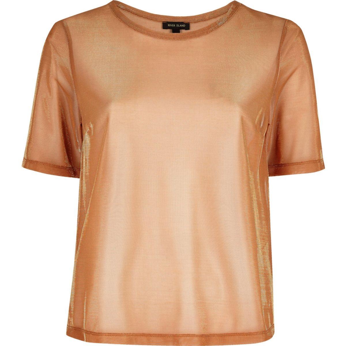 Orange metallic mesh T-shirt