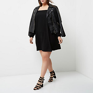 Plus black bardot swing dress