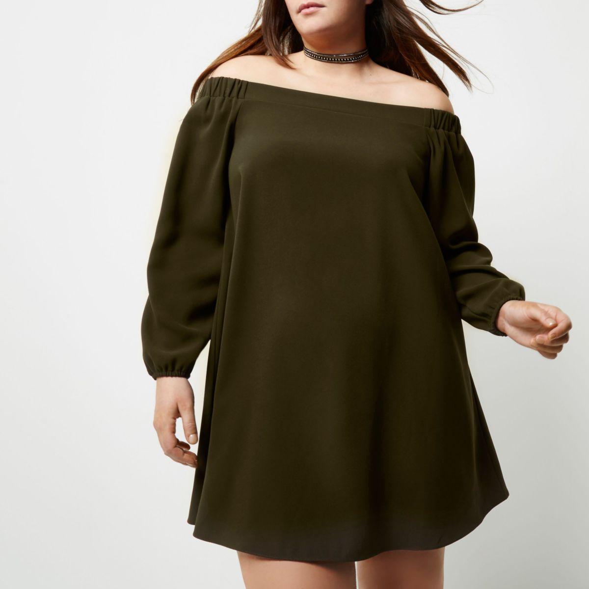 Plus khaki green bardot swing dress