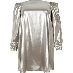 Plus – Bardot-Swing-Kleid in Silber-Metallic