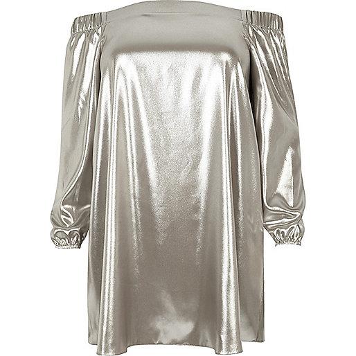 Plus silver metallic bardot swing dress