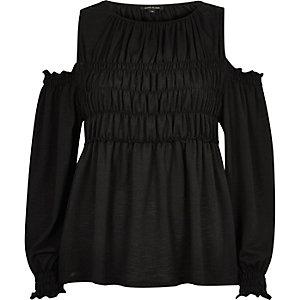Black long sleeve shirred top