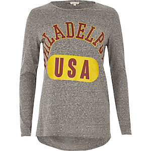 Grey philadelphia print long sleeve top