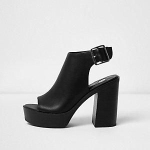 Zwarte peeptoe sandalen met hak en plateauzool