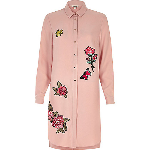Pink rose badge longline shirt dress - dresses - sale - women