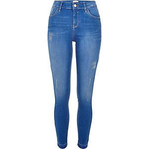 Jean super skinny Amelie délavage bleu vif