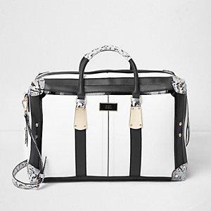 Black and white snake print weekend bag