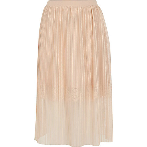 Nude pleated lace trim midi skirt - skirts - sale - women