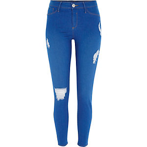 Felblauwe ripped jegging