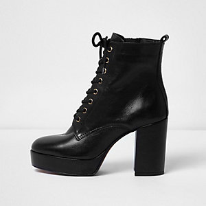 Black leather platform heel boots