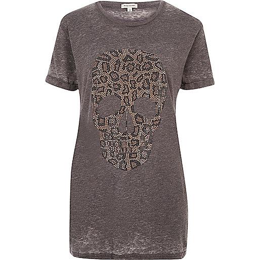 T-shirt boyfriend imprimé tête de mort motif léopard gris