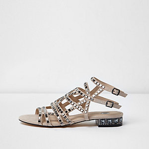 Pink gem embellished cage sandals