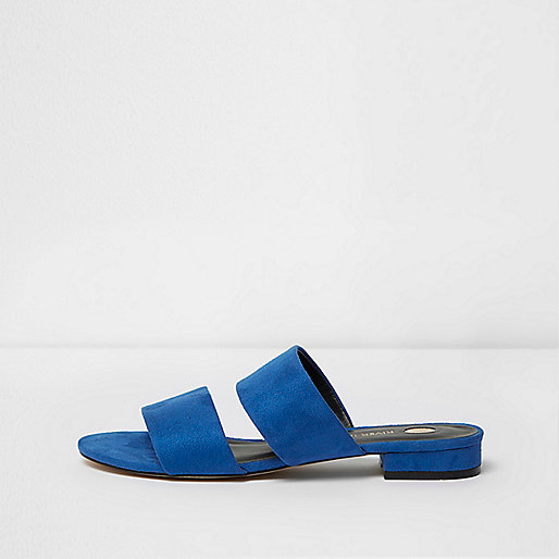 Blue two strap mules