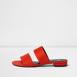 Red two strap mules
