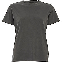 Washed black distressed T-shirt