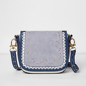 Blue stud detail satchel