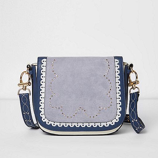 Blue stud detail satchel