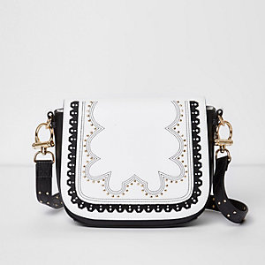 Black and white stud detail satchel