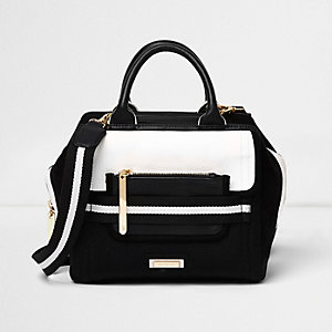 Black sporty crossbody tote bag